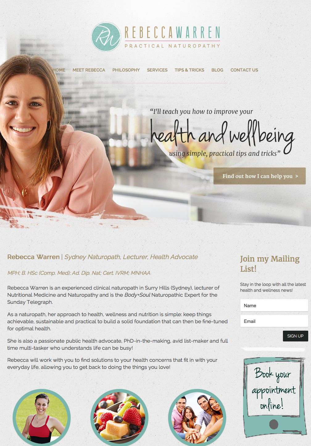 health coach website design